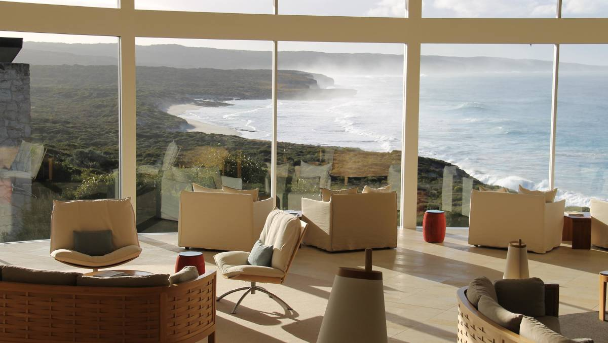 The epitome of luxury in a spectacular setting … the lounge in Southern Ocean Lodge's Great Room.