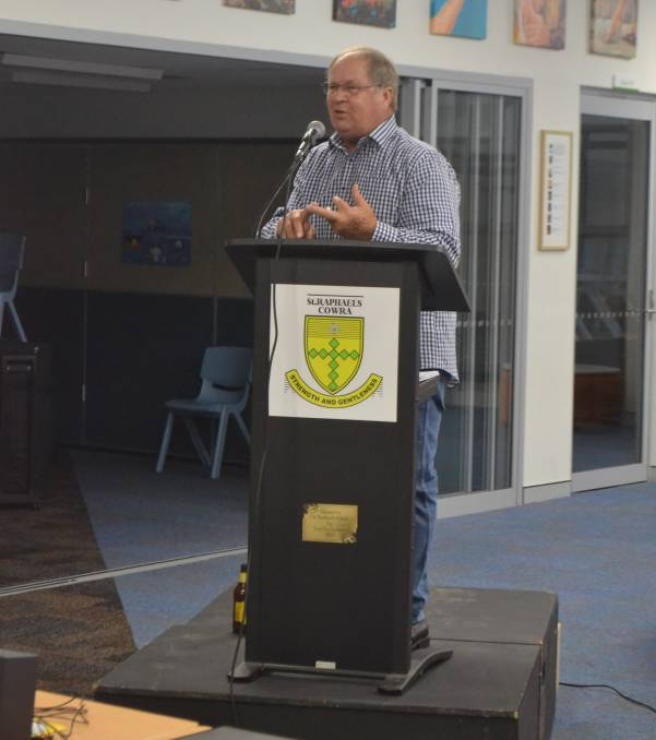 Tommy Raudonikis speaking at St Raphael's in 2018.